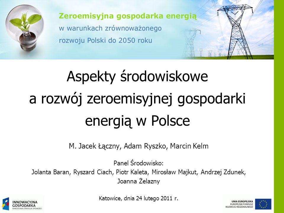 Aspekty środowiskowe a rozwój zeroemisyjnej gospodarki energią w Polsce M. Jacek Łączny, Adam Ryszko, Marcin Kelm Panel Środowisko: Jolanta Baran, Rys
