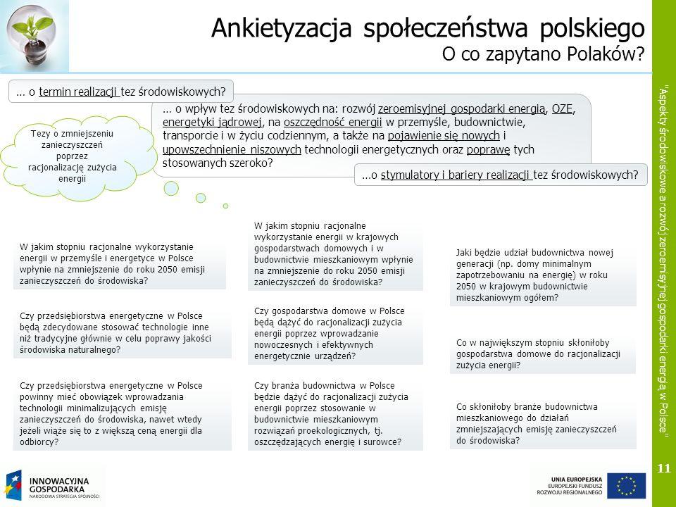 11 Aspekty środowiskowe a rozwój zeroemisyjnej gospodarki energią w Polsce Ankietyzacja społeczeństwa polskiego O co zapytano Polaków.