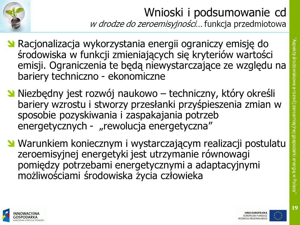 19 Aspekty środowiskowe a rozwój zeroemisyjnej gospodarki energią w Polsce Wnioski i podsumowanie cd w drodze do zeroemisyjności… funkcja przedmiotowa Racjonalizacja wykorzystania energii ograniczy emisję do środowiska w funkcji zmieniających się kryteriów wartości emisji.