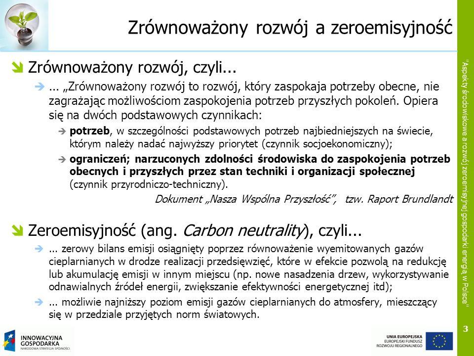 3 Aspekty środowiskowe a rozwój zeroemisyjnej gospodarki energią w Polsce Zrównoważony rozwój a zeroemisyjność Zrównoważony rozwój, czyli......