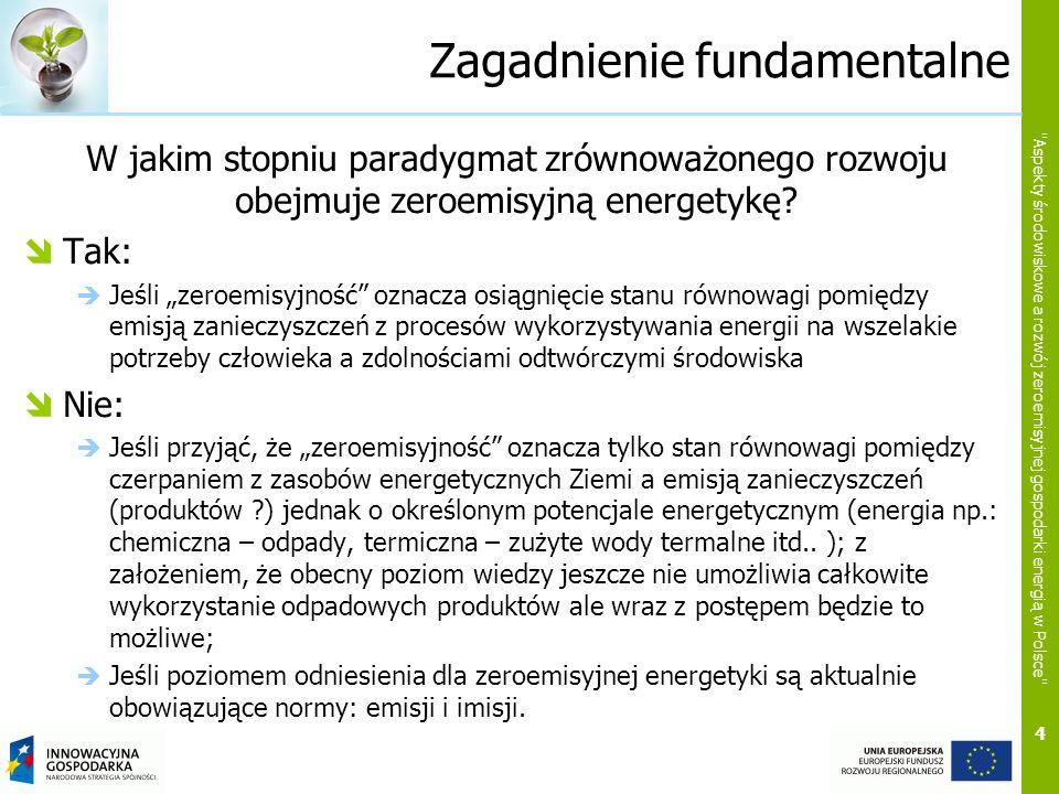 Zagadnienie fundamentalne W jakim stopniu paradygmat zrównoważonego rozwoju obejmuje zeroemisyjną energetykę? Tak: Jeśli zeroemisyjność oznacza osiągn