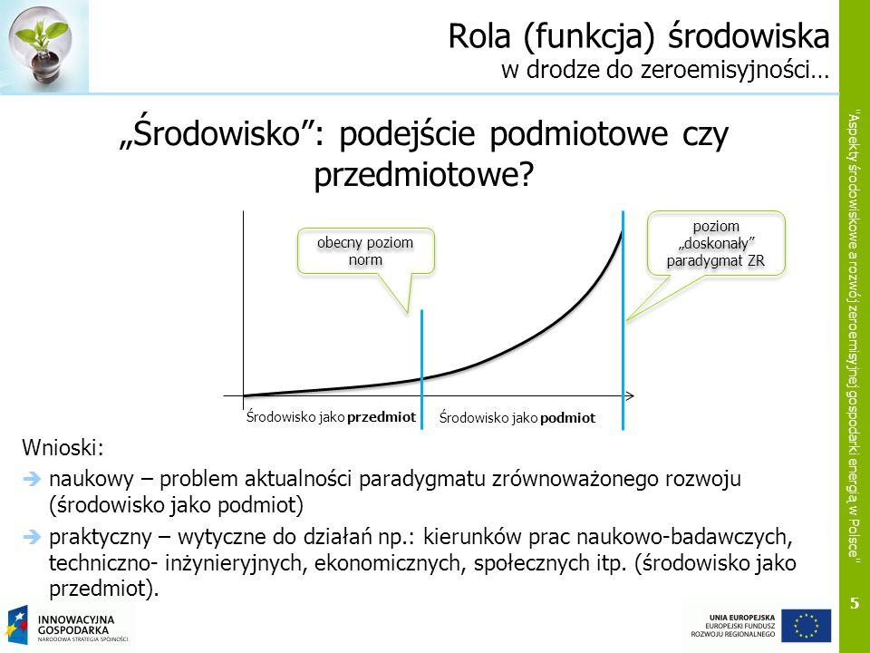 16 Aspekty środowiskowe a rozwój zeroemisyjnej gospodarki energią w Polsce Ankietyzacja społeczeństwa Szczegółowe wnioski dot.