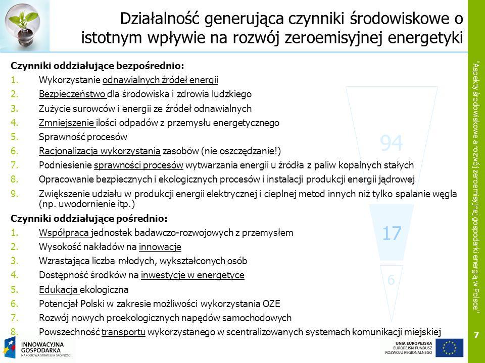 8 Aspekty środowiskowe a rozwój zeroemisyjnej gospodarki energią w Polsce Czynniki środowiskowe kluczowe dla rozwoju zeroemisyjnej energetyki 17 94 6 1.Racjonalizacja zużycia energii w gospodarstwach domowych, budownictwie, przemyśle i energetyce oraz transporcie; 2.Zmiana struktury wytwarzania energii; 3.Bezpieczeństwo społeczne i środowiskowe; 4.Eko-efektywność działań w obszarze technicznym, społecznym i organizacyjnym; 5.Racjonalizacja wykorzystania odpadów; 6.(Drastyczne ograniczenie emisji) Emisja spalin do atmosfery w transporcie (nie tylko samochodowym).