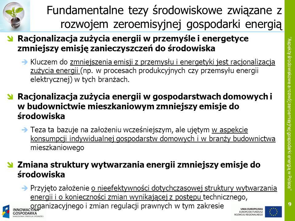 9 Aspekty środowiskowe a rozwój zeroemisyjnej gospodarki energią w Polsce Fundamentalne tezy środowiskowe związane z rozwojem zeroemisyjnej gospodarki energią Racjonalizacja zużycia energii w przemyśle i energetyce zmniejszy emisję zanieczyszczeń do środowiska Kluczem do zmniejszenia emisji z przemysłu i energetyki jest racjonalizacja zużycia energii (np.