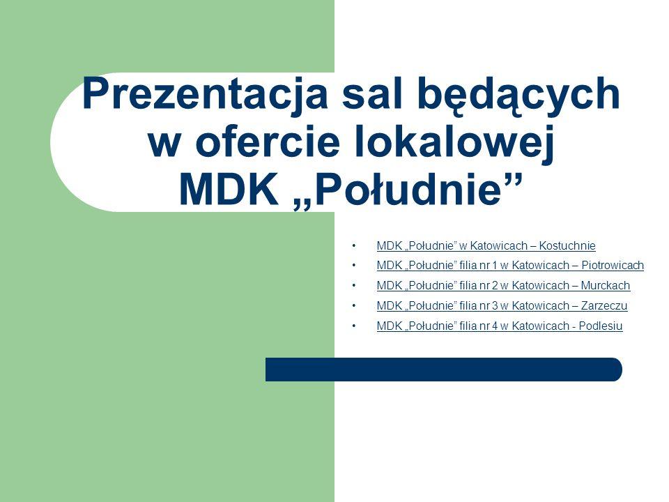 Prezentacja sal będących w ofercie lokalowej MDK Południe MDK Południe w Katowicach – Kostuchnie MDK Południe filia nr 1 w Katowicach – Piotrowicach M