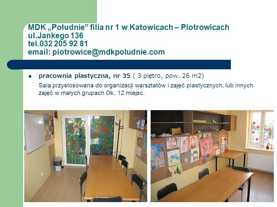 MDK Południe filia nr 1 w Katowicach – Piotrowicach ul.Jankego 136 tel.032 205 92 81 email: piotrowice@mdkpoludnie.com pracownia plastyczna, nr 35 ( 3