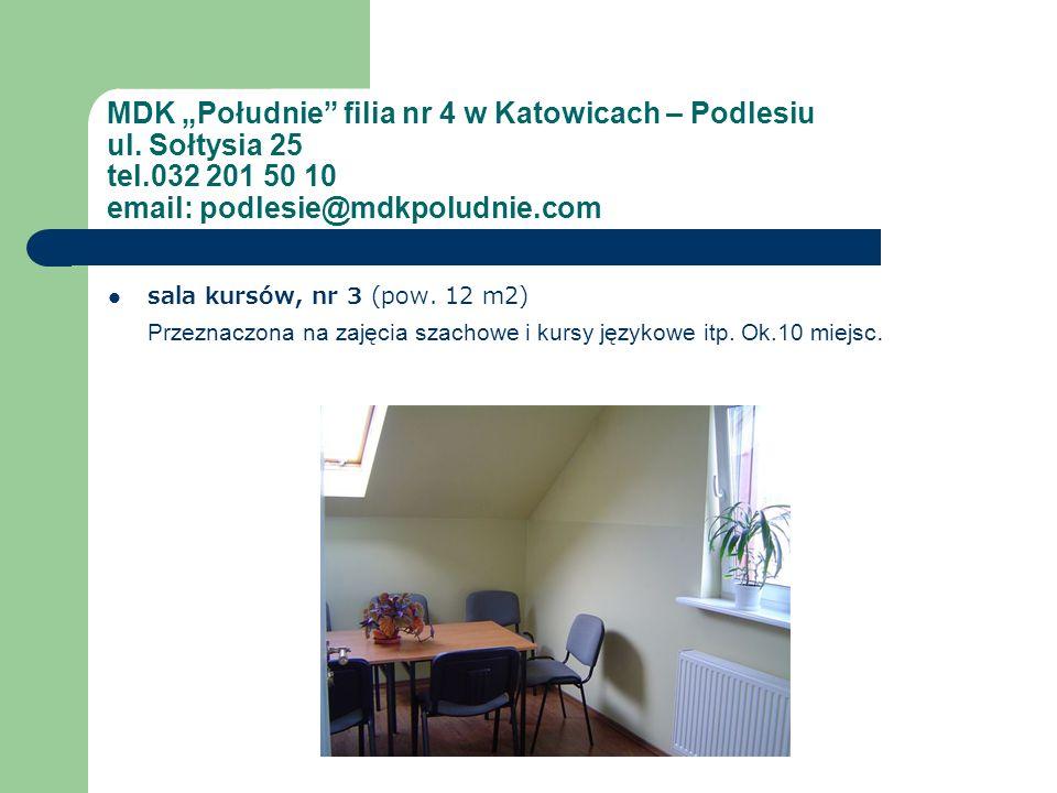MDK Południe filia nr 4 w Katowicach – Podlesiu ul. Sołtysia 25 tel.032 201 50 10 email: podlesie@mdkpoludnie.com sala kursów, nr 3 (pow. 12 m2) Przez