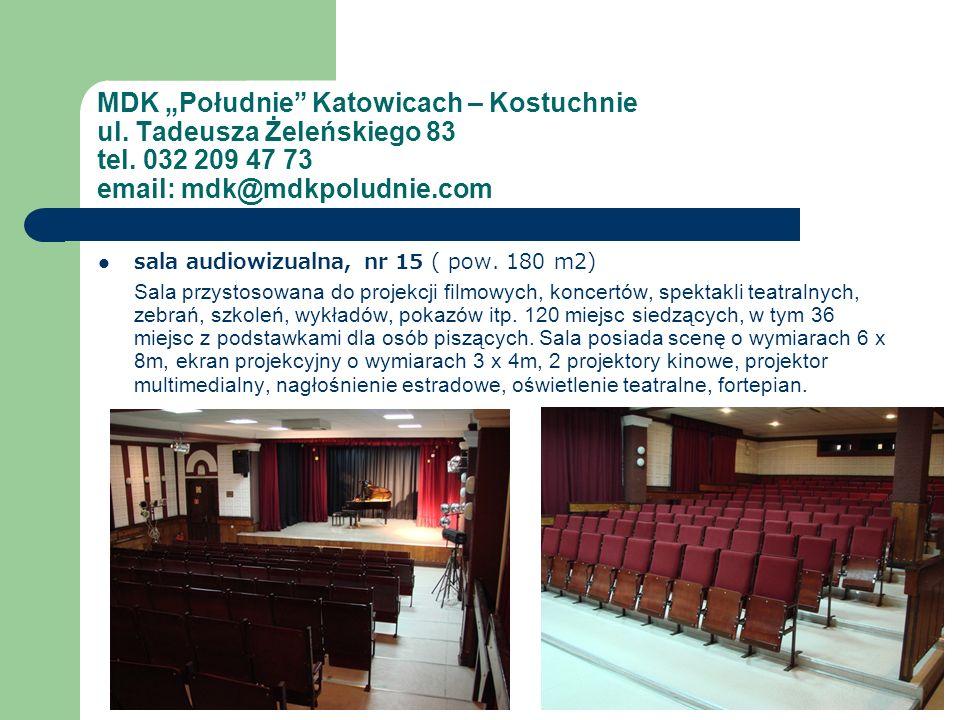 sala audiowizualna, nr 15 ( pow. 180 m2) Sala przystosowana do projekcji filmowych, koncertów, spektakli teatralnych, zebrań, szkoleń, wykładów, pokaz