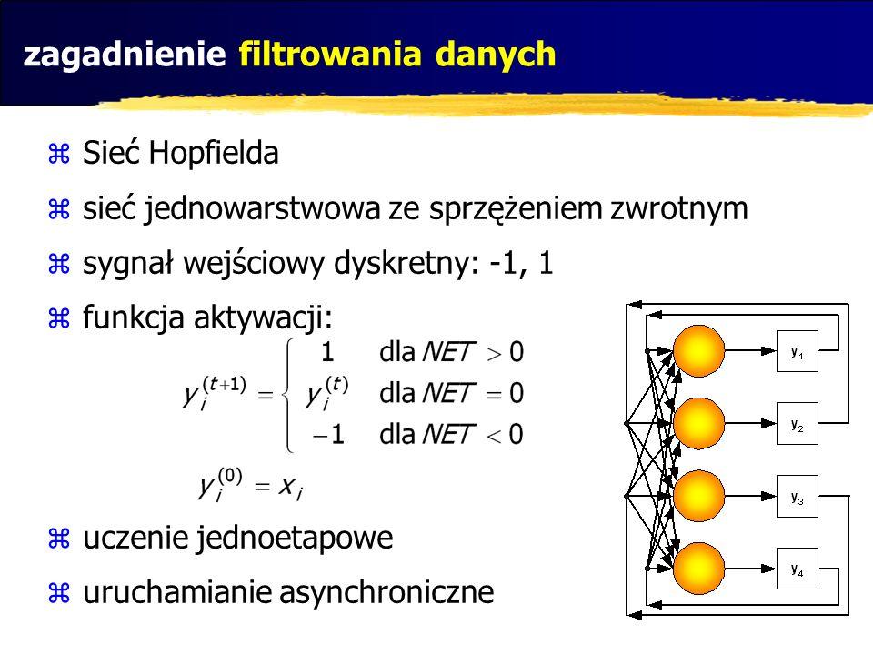 zagadnienie filtrowania danych Sieć Hopfielda sieć jednowarstwowa ze sprzężeniem zwrotnym sygnał wejściowy dyskretny: -1, 1 funkcja aktywacji: uczenie