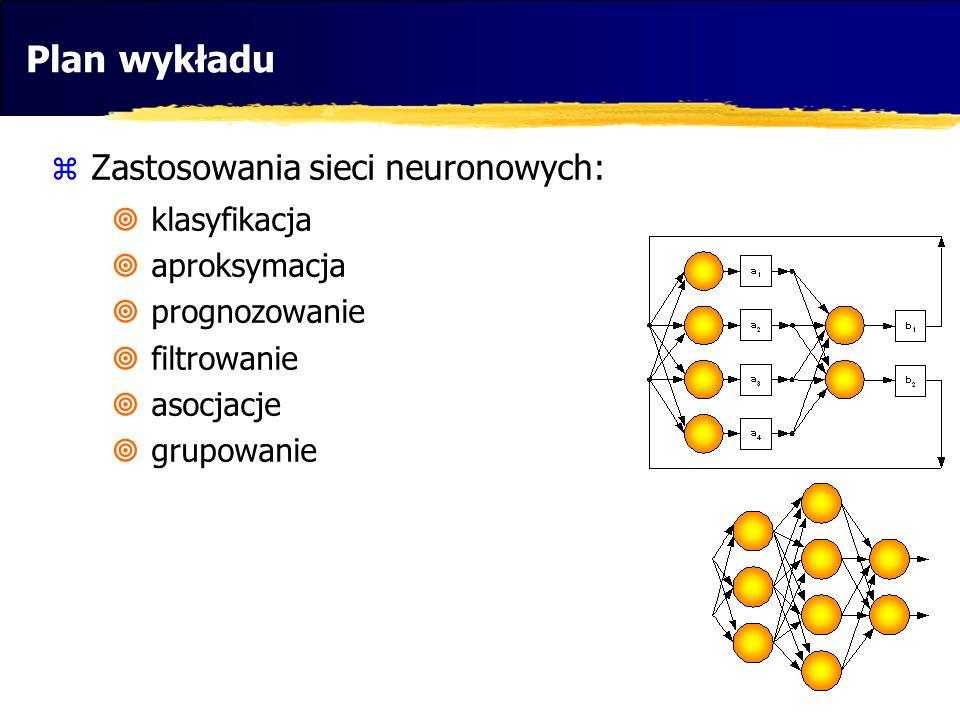 Plan wykładu Zastosowania sieci neuronowych: klasyfikacja aproksymacja prognozowanie filtrowanie asocjacje grupowanie