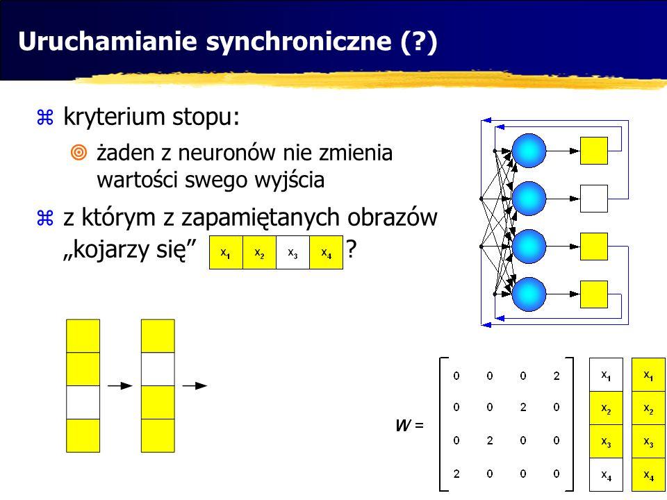 Uruchamianie synchroniczne (?) kryterium stopu: żaden z neuronów nie zmienia wartości swego wyjścia z którym z zapamiętanych obrazów kojarzy się ?