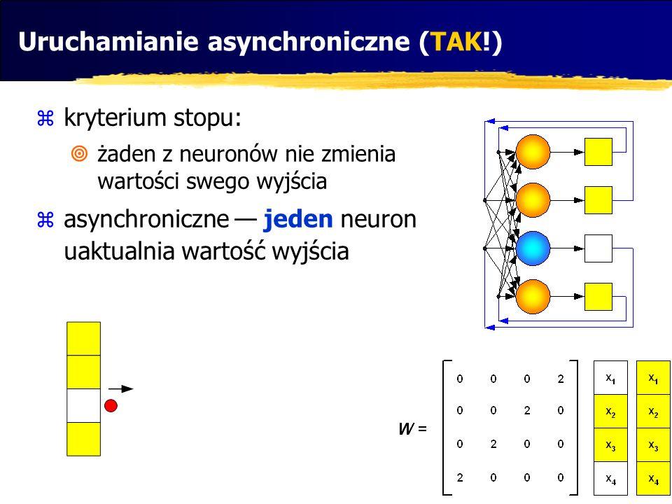Uruchamianie asynchroniczne (TAK!) kryterium stopu: żaden z neuronów nie zmienia wartości swego wyjścia asynchroniczne jeden neuron uaktualnia wartość