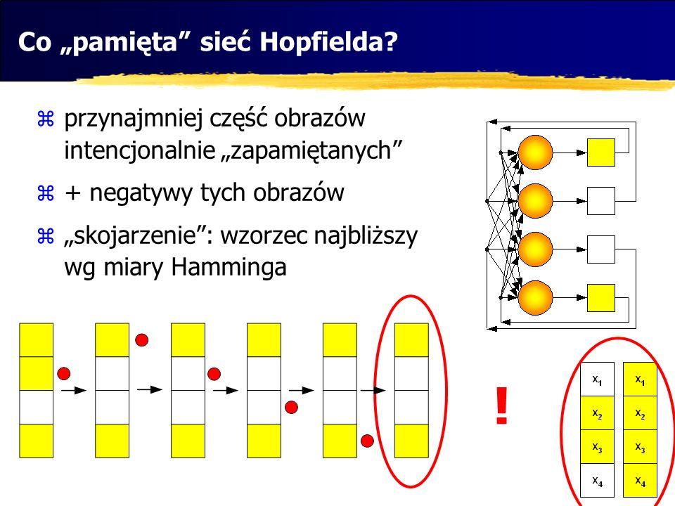 Co pamięta sieć Hopfielda? przynajmniej część obrazów intencjonalnie zapamiętanych + negatywy tych obrazów skojarzenie: wzorzec najbliższy wg miary Ha