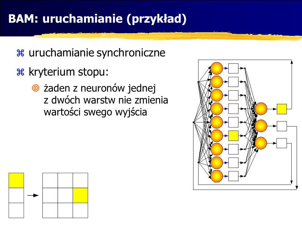 BAM: uruchamianie (przykład) uruchamianie synchroniczne kryterium stopu: żaden z neuronów jednej z dwóch warstw nie zmienia wartości swego wyjścia