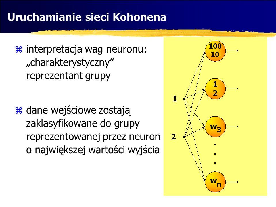 Uruchamianie sieci Kohonena interpretacja wag neuronu: charakterystyczny reprezentant grupy dane wejściowe zostają zaklasyfikowane do grupy reprezento