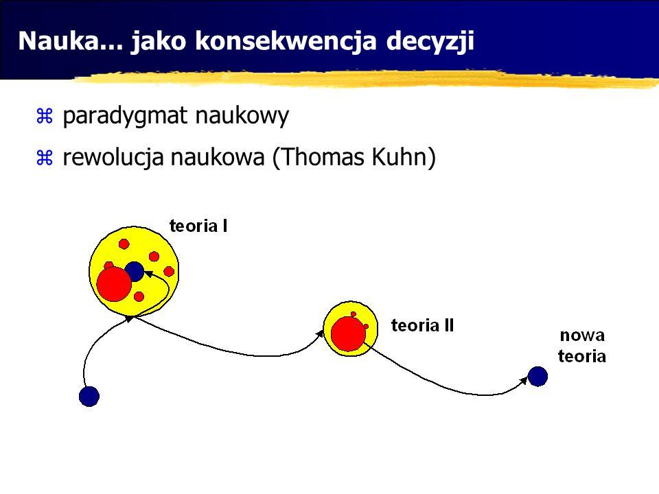 Nauka... jako konsekwencja decyzji paradygmat naukowy rewolucja naukowa (Thomas Kuhn)
