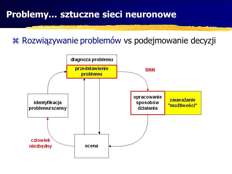 Problemy... sztuczne sieci neuronowe Rozwiązywanie problemów vs podejmowanie decyzji