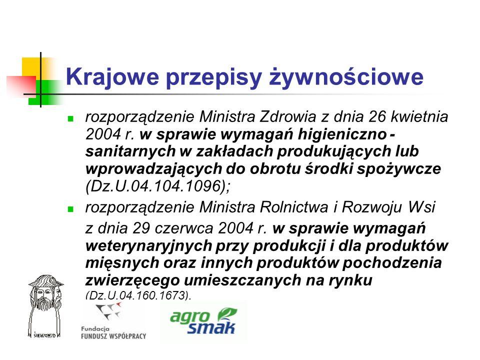 Krajowe przepisy żywnościowe rozporządzenie Ministra Zdrowia z dnia 26 kwietnia 2004 r. w sprawie wymagań higieniczno - sanitarnych w zakładach produk