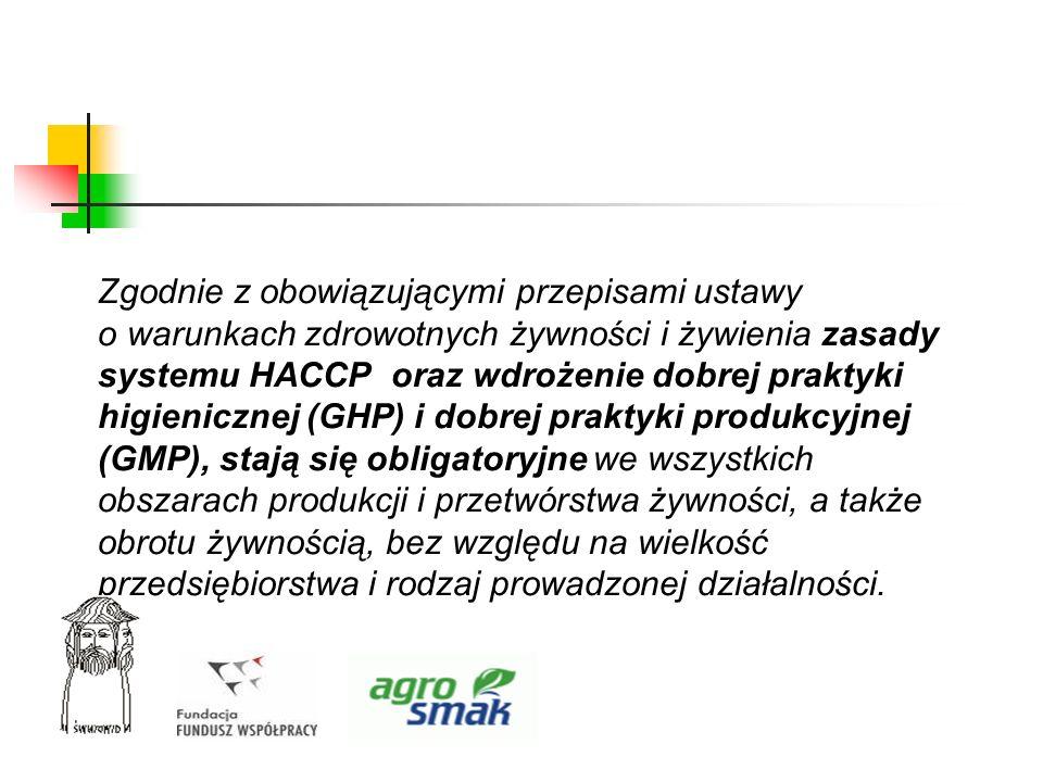 Zgodnie z obowiązującymi przepisami ustawy o warunkach zdrowotnych żywności i żywienia zasady systemu HACCP oraz wdrożenie dobrej praktyki higieniczne