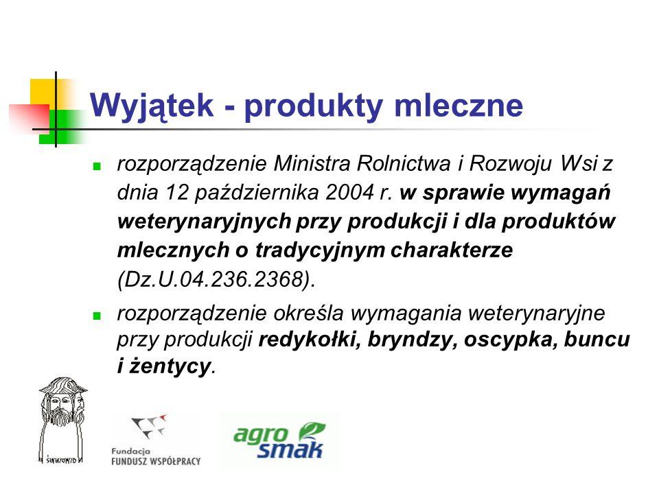 Wyjątek - produkty mleczne rozporządzenie Ministra Rolnictwa i Rozwoju Wsi z dnia 12 października 2004 r. w sprawie wymagań weterynaryjnych przy produ