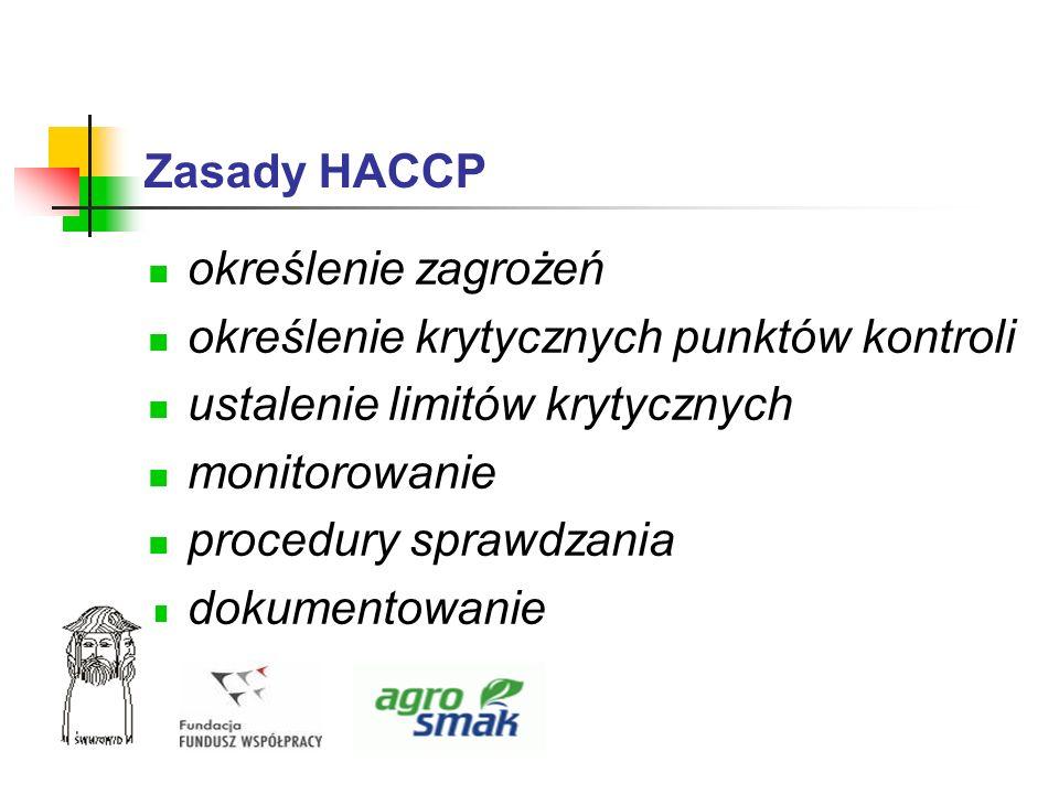 Zasady HACCP określenie zagrożeń określenie krytycznych punktów kontroli ustalenie limitów krytycznych monitorowanie procedury sprawdzania dokumentowa