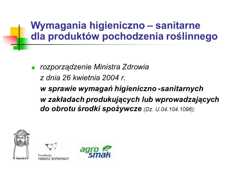 Wymagania higieniczno – sanitarne dla produktów pochodzenia roślinnego rozporządzenie Ministra Zdrowia z dnia 26 kwietnia 2004 r. w sprawie wymagań hi