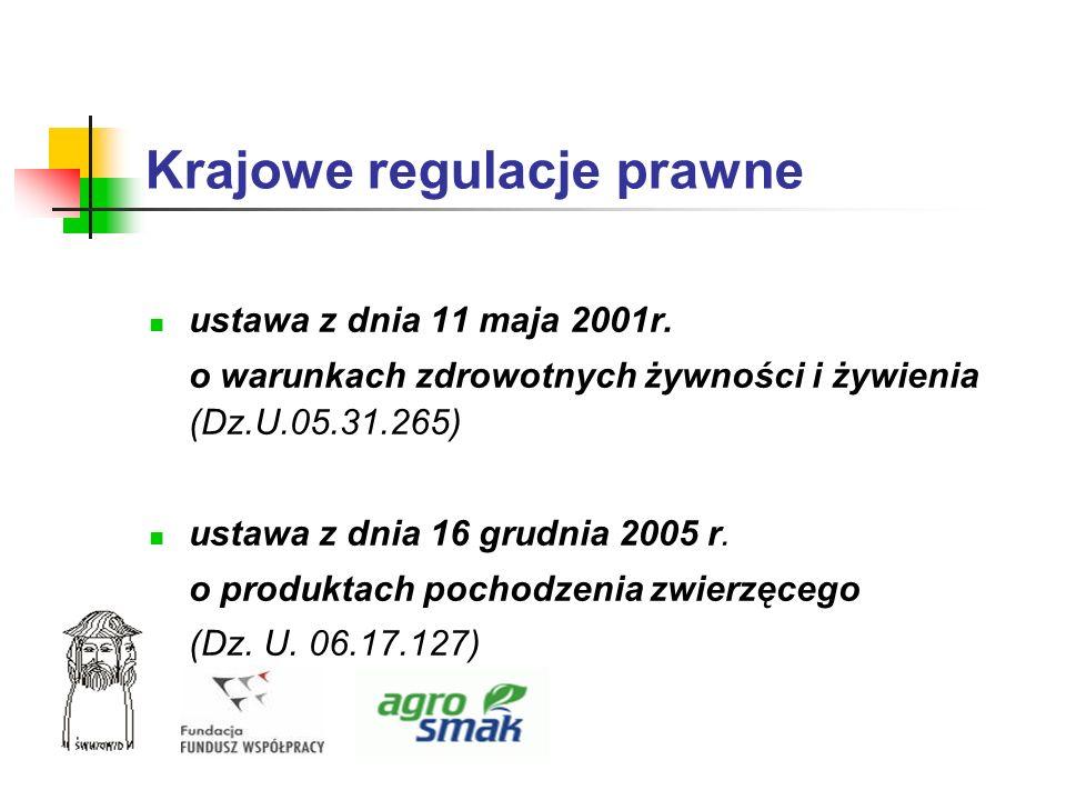 Krajowe regulacje prawne ustawa z dnia 11 maja 2001r. o warunkach zdrowotnych żywności i żywienia (Dz.U.05.31.265) ustawa z dnia 16 grudnia 2005 r. o