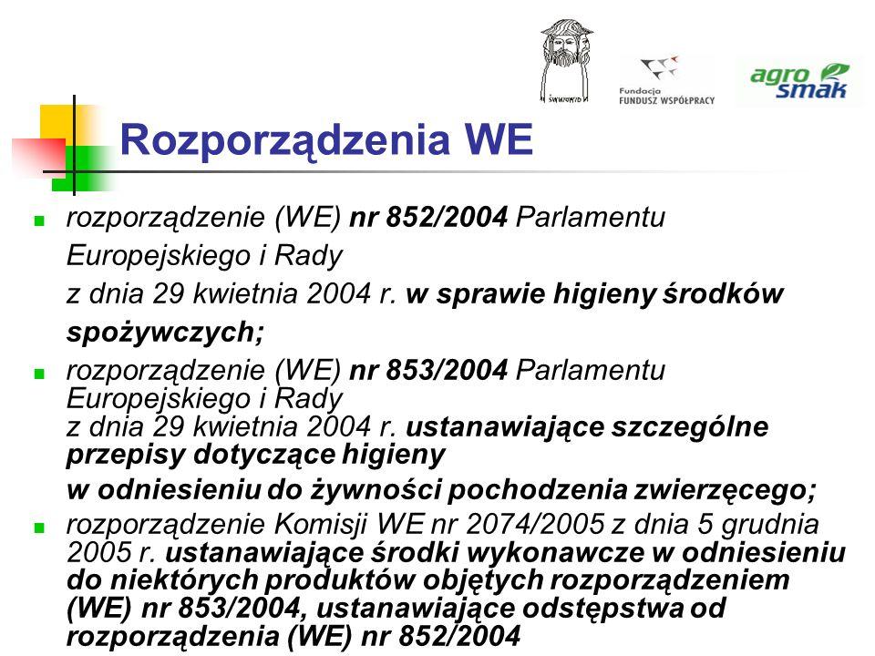 Rozporządzenia WE rozporządzenie (WE) nr 852/2004 Parlamentu Europejskiego i Rady z dnia 29 kwietnia 2004 r. w sprawie higieny środków spożywczych; ro