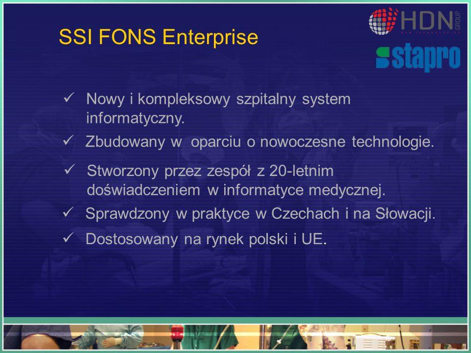 SSI FONS Enterprise Nowy i kompleksowy szpitalny system informatyczny. Zbudowany w oparciu o nowoczesne technologie. Stworzony przez zespół z 20-letni