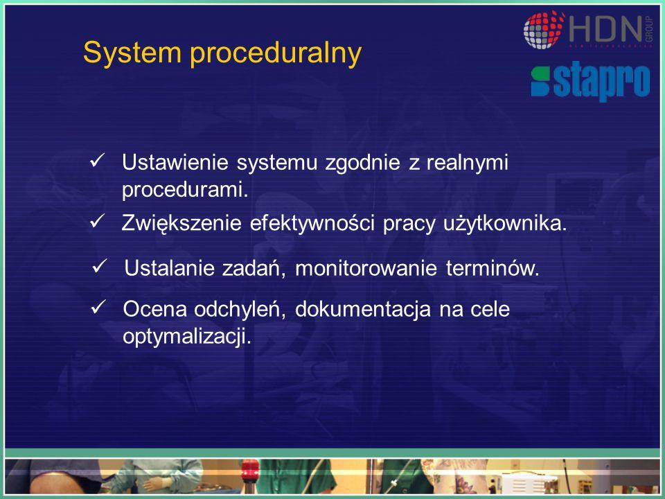 System proceduralny Ustawienie systemu zgodnie z realnymi procedurami. Zwiększenie efektywności pracy użytkownika. Ustalanie zadań, monitorowanie term