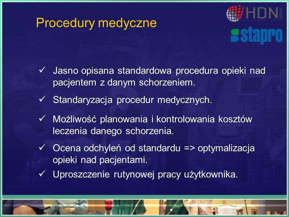 Procedury medyczne Jasno opisana standardowa procedura opieki nad pacjentem z danym schorzeniem. Standaryzacja procedur medycznych. Możliwość planowan