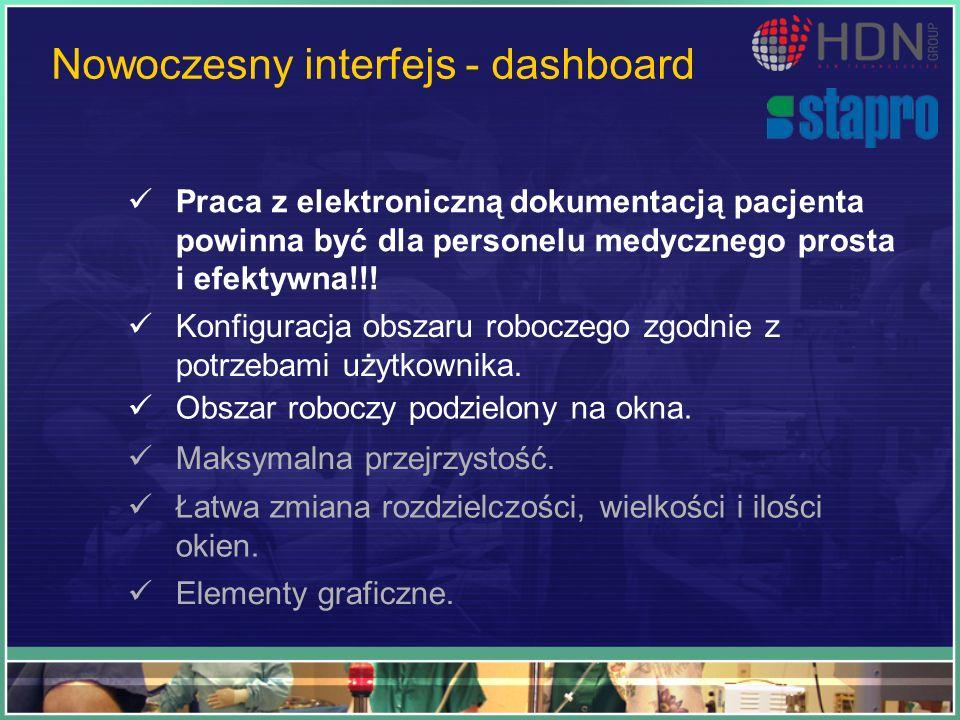 Nowoczesny interfejs - dashboard Praca z elektroniczną dokumentacją pacjenta powinna być dla personelu medycznego prosta i efektywna!!! Konfiguracja o