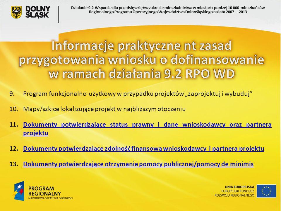 9.Program funkcjonalno-użytkowy w przypadku projektów zaprojektuj i wybuduj 10. Mapy/szkice lokalizujące projekt w najbliższym otoczeniu 11.Dokumenty