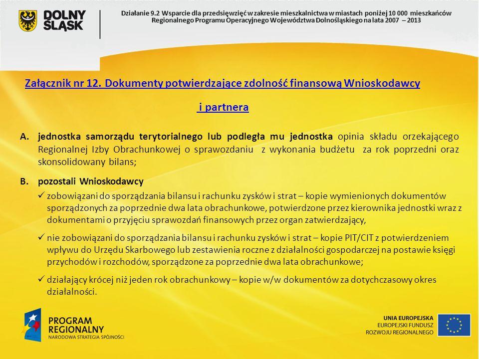Załącznik nr 12. Dokumenty potwierdzające zdolność finansową Wnioskodawcy i partnera A.jednostka samorządu terytorialnego lub podległa mu jednostka op