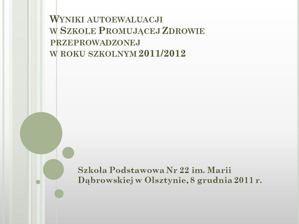 W YNIKI AUTOEWALUACJI W S ZKOLE P ROMUJĄCEJ Z DROWIE PRZEPROWADZONEJ W ROKU SZKOLNYM 2011/2012 Szkoła Podstawowa Nr 22 im.
