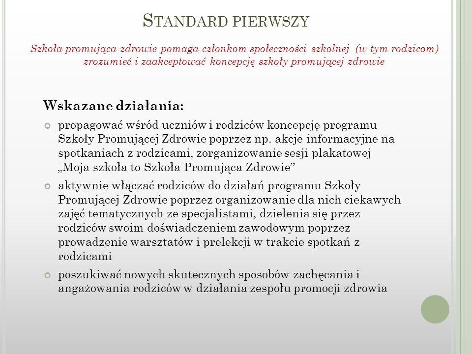 S TANDARD PIERWSZY Wskazane działania: propagować wśród uczniów i rodziców koncepcję programu Szkoły Promującej Zdrowie poprzez np.