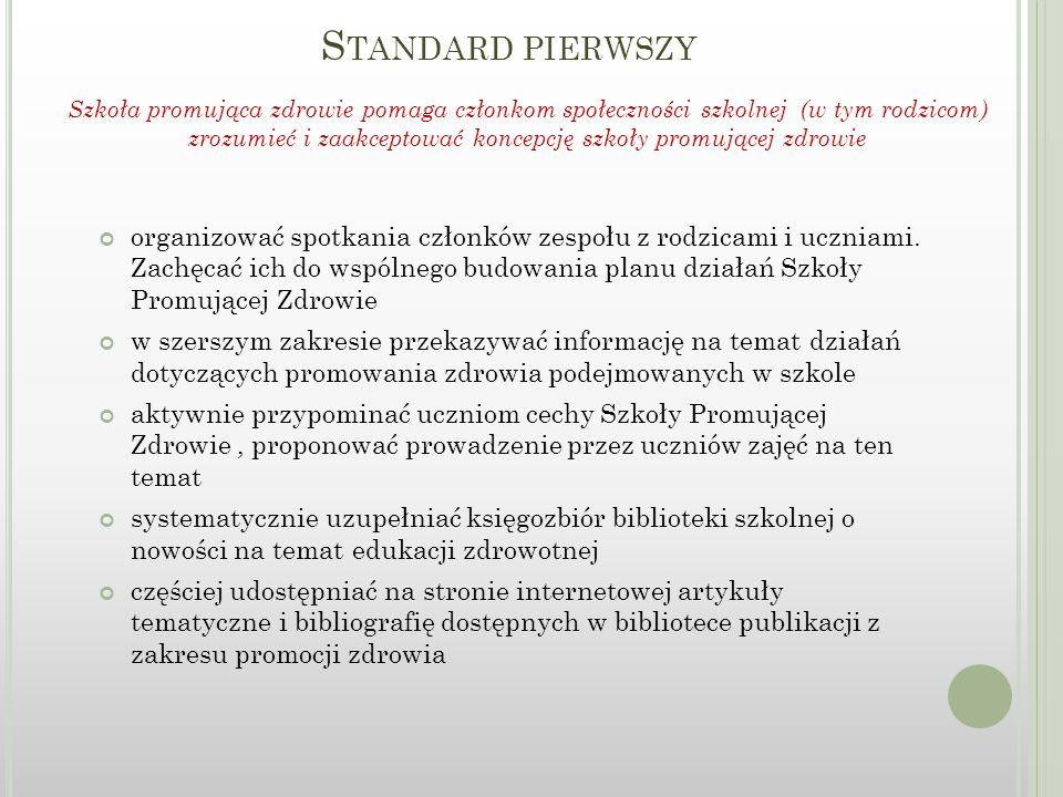 S TANDARD DRUGI Wymiarocena III.Działalność szkolnego koordynatora ds.