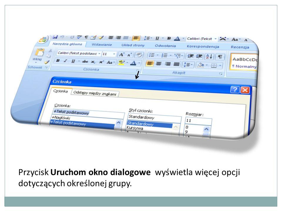 Przycisk Uruchom okno dialogowe wyświetla więcej opcji dotyczących określonej grupy.