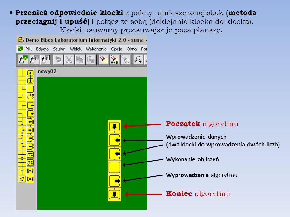 Uruchom program ELI. Utwórz nowy projekt (Plik/Nowy projekt). Nazwij projekt suma i zaznacz przycisk Plansza Zatwierdź przyciskiem OK. Pamiętaj o nazw