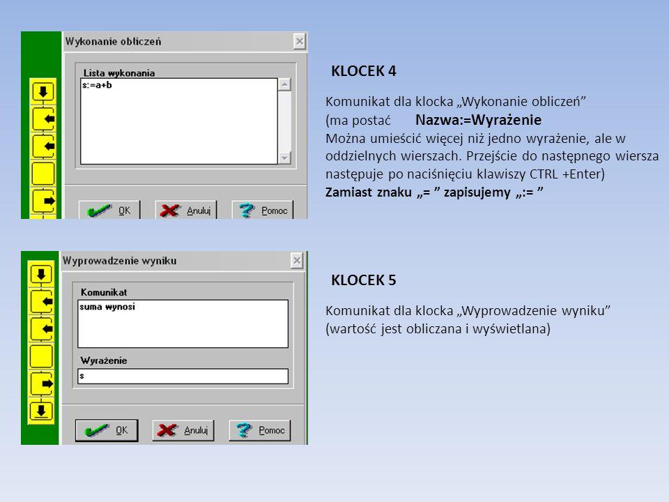 Komunikat dla klocka Początek algorytmu (opis algorytmu) Komunikat dla klocka Wprowadzanie danej (polecenie wprowadzenia wartości i nazwanie zmiennej,
