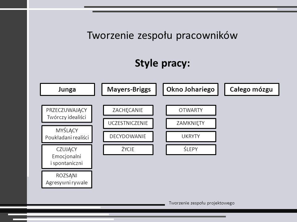 Tworzenie zespołu pracowników Style pracy: Tworzenie zespołu projektowego JungaMayers-BriggsOkno JohariegoCałego mózgu PRZECZUWAJĄCY Twórczy idealiści