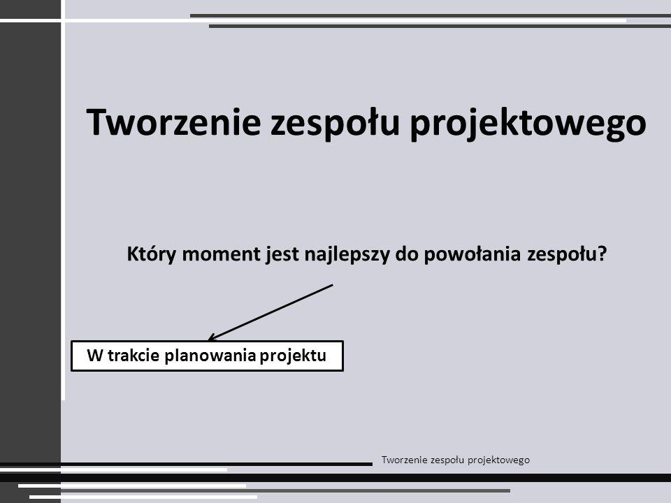 Tworzenie zespołu projektowego Który moment jest najlepszy do powołania zespołu.