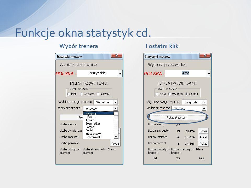 Funkcje okna statystyk cd. Wybór treneraI ostatni klik