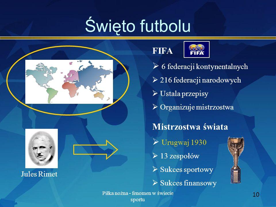 Piłka nożna - fenomen w świecie sportu 10 Święto futbolu FIFA 6 federacji kontynentalnych 216 federacji narodowych Ustala przepisy Organizuje mistrzos