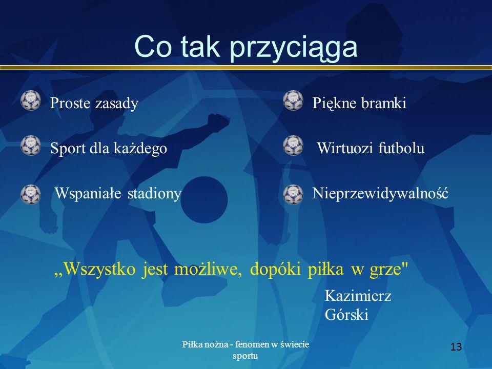 Piłka nożna - fenomen w świecie sportu 13 Co tak przyciąga Proste zasady Sport dla każdego Wspaniałe stadiony Piękne bramki Wirtuozi futbolu Nieprzewi