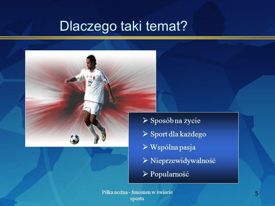 Piłka nożna - fenomen w świecie sportu 6 Plan prezentacji Pierwsze drużyny Puchary, tytuły Trudne początki Co przyciąga Święto futbolu Wzloty i upadki Król jest tylko jeden
