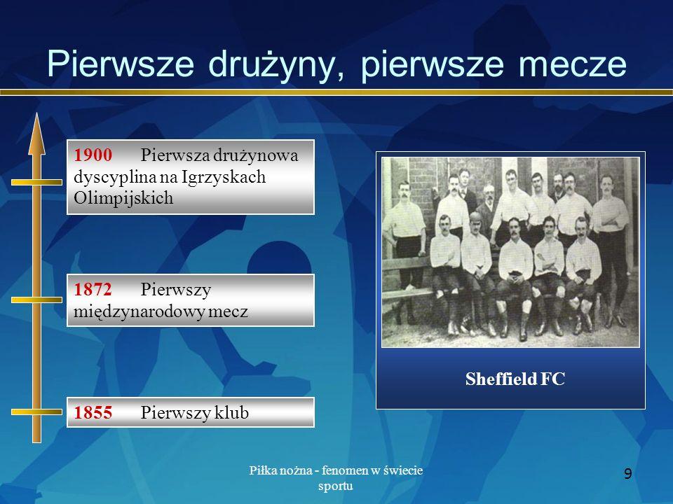 Piłka nożna - fenomen w świecie sportu 9 Pierwsze drużyny, pierwsze mecze Sheffield FC 1855 Pierwszy klub 1872 Pierwszy międzynarodowy mecz 1900 Pierw