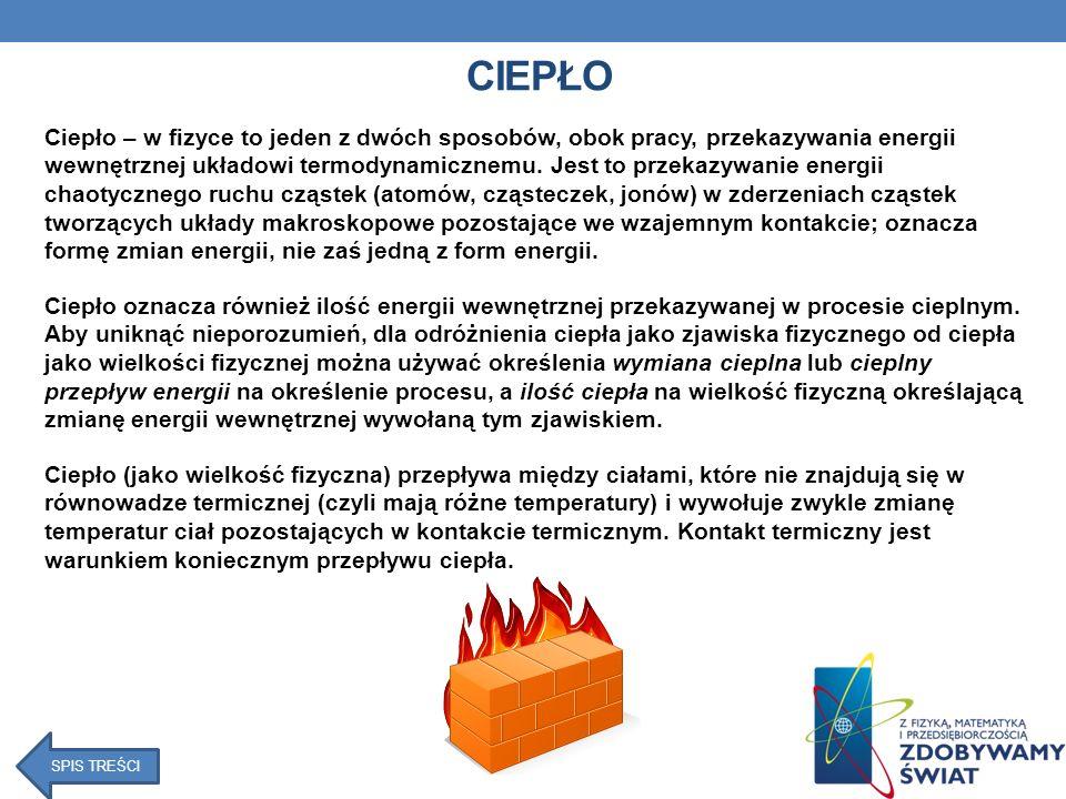 WYKORZYSTANIE CIEPŁA W ŻYCIU CODZIENNYM I GOSPODARCE Zastosowanie przewodników ciepła: - do produkcji garnków, żelazek i kaloryferów, ponieważ metal dobrze przewodzi ciepło, - do produkcji rur przeprowadzających ciepłą wodę, - do produkcji chłodnic samochodowych Zastosowanie izolatorów cieplnych: - w budownictwie jako okna próżniowe, które mają za zadanie chronić lokatorów budynków przed nadmierną utratą ciepła, - w budownictwie jako materiały budowlane (porowate cegły, betonowe płyty styropian), które źle przewodzą ciepło, - do produkcji drzwi, ponieważ drewno nie przewodzi dobrze ciepła SPIS TREŚCI