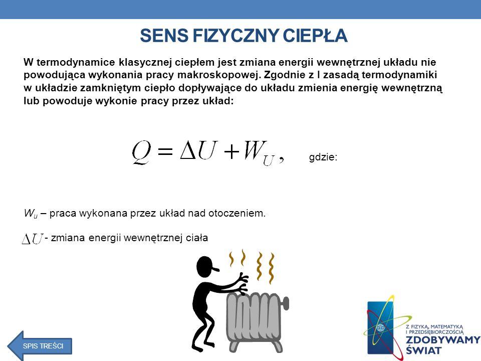 SENS FIZYCZNY CIEPŁA W termodynamice klasycznej ciepłem jest zmiana energii wewnętrznej układu nie powodująca wykonania pracy makroskopowej.