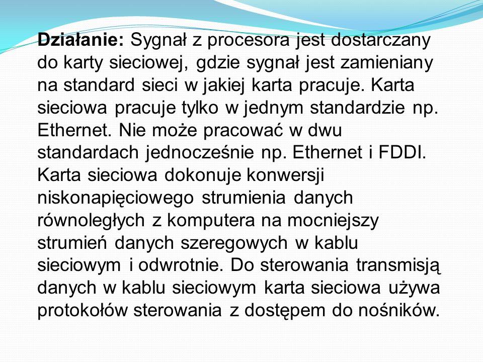 Działanie: Sygnał z procesora jest dostarczany do karty sieciowej, gdzie sygnał jest zamieniany na standard sieci w jakiej karta pracuje. Karta siecio